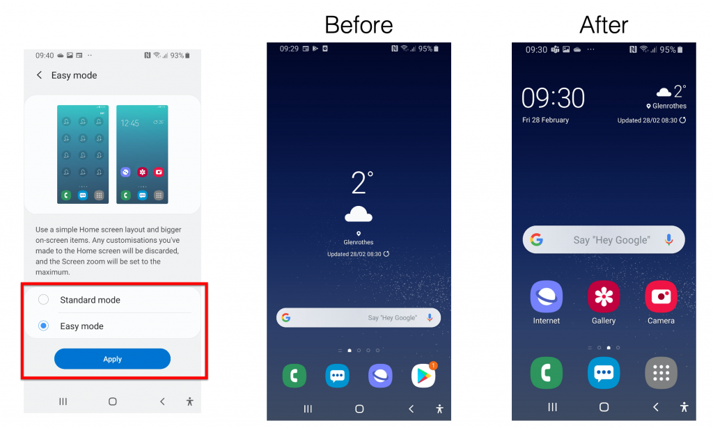 Image One: Samsung S8 screenshot of easy mode settings menu with easy mode highlighted with red box. Image 2: Screenshot of homescreen with small icons. Image 3: Screenshot of homescreen with larger icons and text