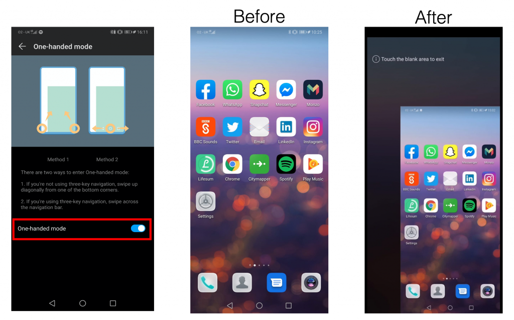 Image 1: Screenshot of Huawei P20 'one-handed mode' settings menu with one-handed mode highlighted with red box. Image 2: Screenshot of Huawei P20 homescreen. Image 3: Screenshot of Huawei P20 homescreen moved to the bottom right hand corner.