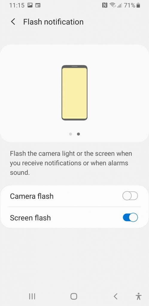 Screenshot of Samsung S8's 'flash notification' settings menu with screen flash selected
